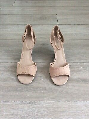NEXT Suede Dusky Pink Open Toe Curved Wedge Shoe, UK Size 5.5 • 14£