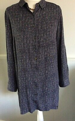 WHITE STUFF GREY WITH PEACH PATTERN LONG TUNIC BLOUSE SHIRT UK 10 Casual Smart • 7£
