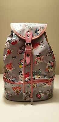 Cath Kidston Kids Rucksack Backpack Bag  Super Dogs  In Pale Grey Oilcloth • 7.99£