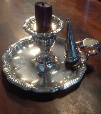 Antique Silver Plated Candle Holder Wee Willie Winkie Style With Snuffer • 9.50£