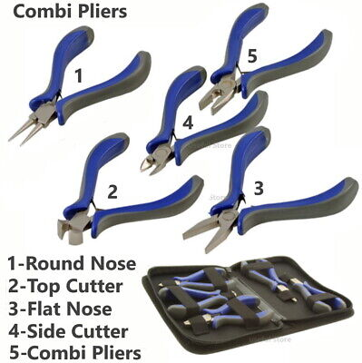 Small Pliers Beading Jewellery Hobby Making Tools Kit Set Round Nose Flat Cutter • 3.95£