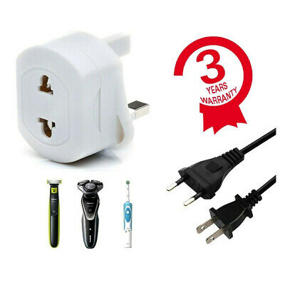 2Pin To 3Pin UK Shaver Adapter Plug Socket Converter EU European Euro Europe 13A • 3.39£