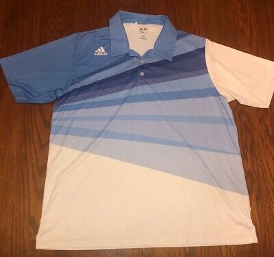 $6 • Buy Mens Adidas Golf Climalite Blue Polo Shirt Size Large