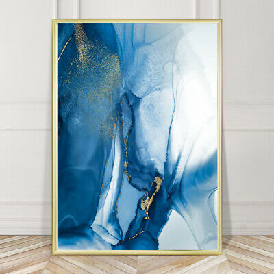 Blue & Gold Wall Art Decor Abstract Watercolour Painting Print Poster A4 - A1 • 14.99£