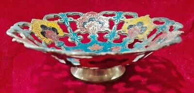 Vintage Indian Brass And Enamelled Cut Out Detail Dish / Bowl / Sweet Dish • 14.99£