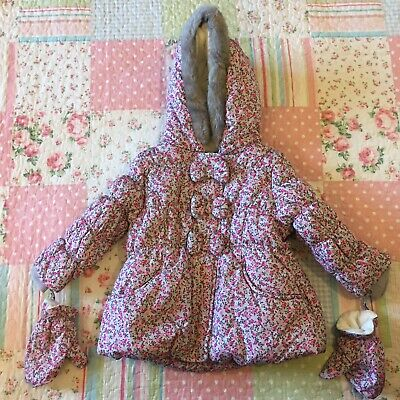 £10 • Buy Girls Warm Winter Coat Floral With Fur Hood Grey & Pink 12-18 Months 1-1.5 Years