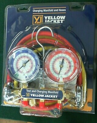 $70 • Buy YELLOW JACKET 42004 - Series 41 Manifold 3-1/8-Inch Gauges With Hoses R22...
