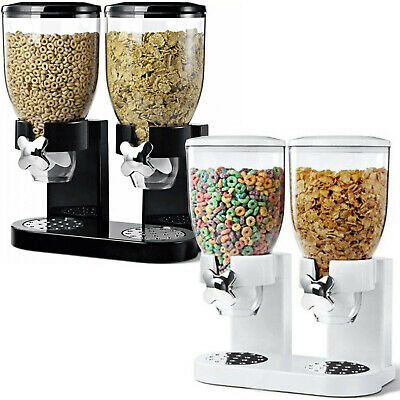 £12.95 • Buy Double Cereal Dispenser Dry Food Storage Container Dispenser Machine 2 Colours