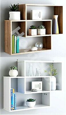 Multi Compartment Display Wall Floating Shelf Wall Decoration OAK / WHITE • 23.99£