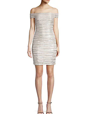 $47.24 • Buy Aidan Mattox Off-The-Shoulder Ruched Foiled Mini Dress $220 Size 6 # 20A 226 NEW