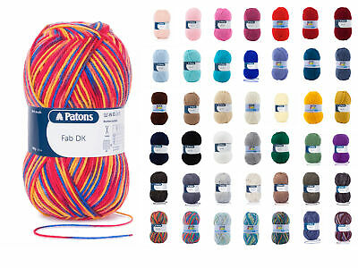 Patons FAB DK Double Knit Wool 100g - Knitting Yarn - All Colours • 3.49£