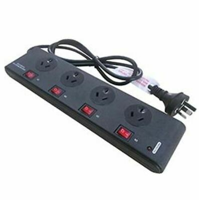 AU29.90 • Buy Power Board 4 Outlet Wide Space Switched Black Surge Protected Powerboard