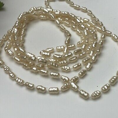 Ladies Cream Acrylic Faux Rice Pearl Bead  Long Necklace • 2.49£