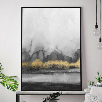 Grey & Gold Wall Art Watercolour Abstract Geometric Art Painting Print Poster  • 19.99£