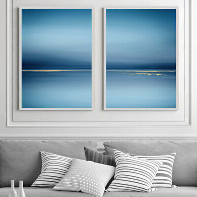 Blue & Gold Sea Abstract Wall Art Set Watercolour Painting Print Poster A4 - A1 • 13.99£