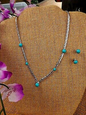 $11.88 • Buy Vintage SARAH COVENTRY NECKLACE & EARRING SET ~ SILVER TONE TURQUOISE