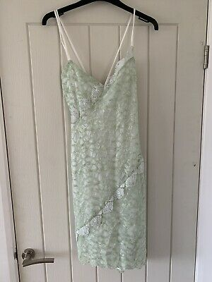 Topshop Green Lace Bodycon Midi Dress Cut Out Size 14 Cami • 4.99£