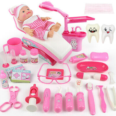 Pink Dentist Play Toys Dental Surgeon Tool Kit Kids Educational Playsets Gifts • 14.99£