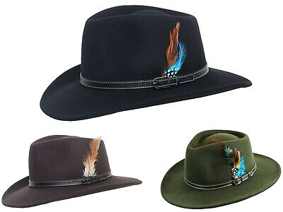 £29.99 • Buy Waterproof 100% Wool Fedora Hat Crushable Felt Trilby With Leather Band 4 Sizes