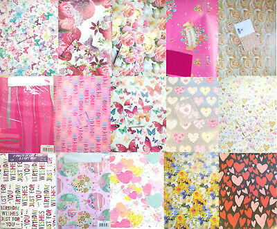 £3.49 • Buy Pretty Gift Wrap, Floral Wrapping Paper, Female Birthday Paper