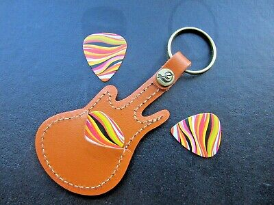$ CDN8.79 • Buy Guitar Plectrum Pick Holder Case Keyring Tan Leather With 3 Plecs Picks *uk*