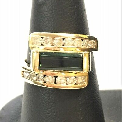 $1295 • Buy 18k Yellow Gold Ring With Center Green Tourmaline And Diamonds   (Size: 6)