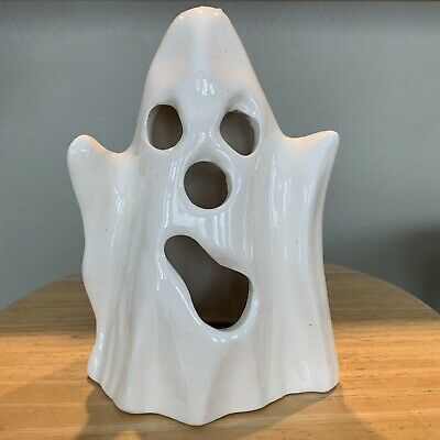 $ CDN29.77 • Buy Vintage Halloween Ceramic Ghost Decoration Light Up Candle Holder Cut Out Face