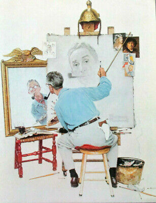 $ CDN21.29 • Buy NORMAN ROCKWELL 1970's LARGE GLOSSY BOOK COVER LITHOGRAPH, TRIPLE SELF PORTRAIT