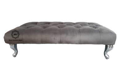 Grey Plush Velvet Footstool Chesterfield Diamond Tufted Bench Free Delivery • 84.95£