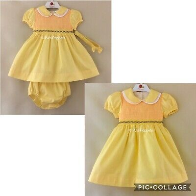 £23 • Buy Baby Girls Spanish Style Dress Outfit Smocked Traditional Yellow