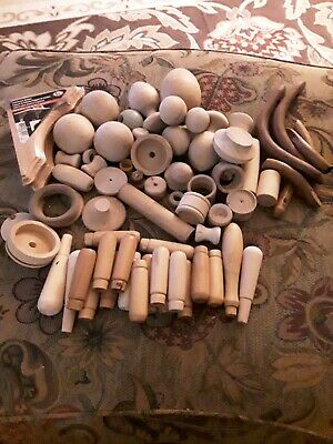 $49.95 • Buy Large Lot Of Wooden Craft Items Folk Toy Balls Handles Odd Wood Pieces Corner Br