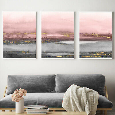 Grey Pink Gold Abstract Wall Art 3 Piece Set Watercolour Painting Print Poster • 21.99£