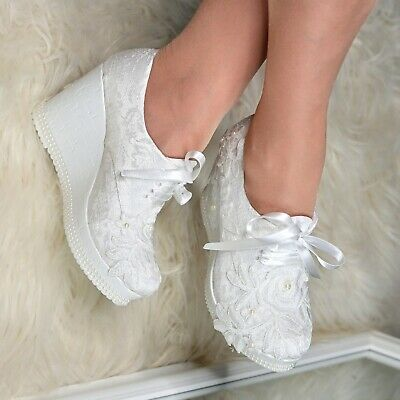 Ladies Bridal Wedges Shoes LACE & PEARLS High Heel Boho Lace-up Booties,Size 4-7 • 29.95£