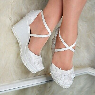 Ladies Bridal Wedges Floral Lace High Heel Ivory Pumps Strappy Wedding Shoe Size • 29.95£