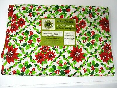 $ CDN20.39 • Buy Vintage Tablecloth Christmas Red Green Poinsettias Sunweave Kitsch 51x70 New