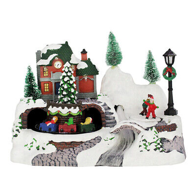 Christmas LED Village With Revolving Train And Fibre Optic River - Decoration • 32.49£