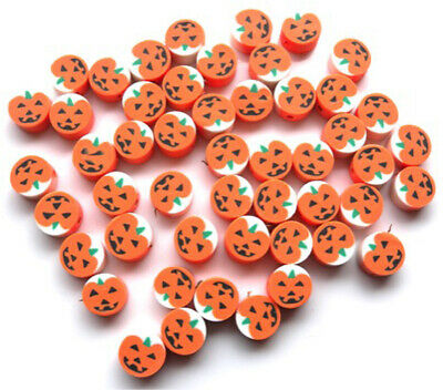 50 Fimo Polymer Clay Pumpkin Beads - Approx 10mm 🎃🎃🎃 • 5.99£