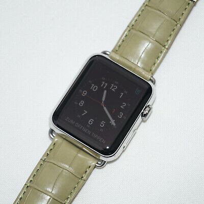 $ CDN821.34 • Buy The Best Leather Watch Band Alligator / Green Strap Apple Watch 44mm Series 4