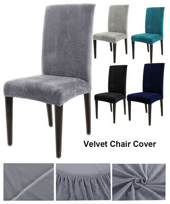 AU25.66 • Buy Stretch Velvet Fabric Dining Room Wedding Kitchen Home Chair Seat Covers AU