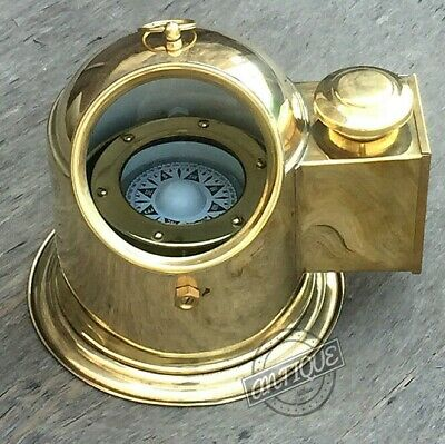 Christmas Ship Helmet Compass With Binnacle Maritime Gimbals W/Oil La • 49£