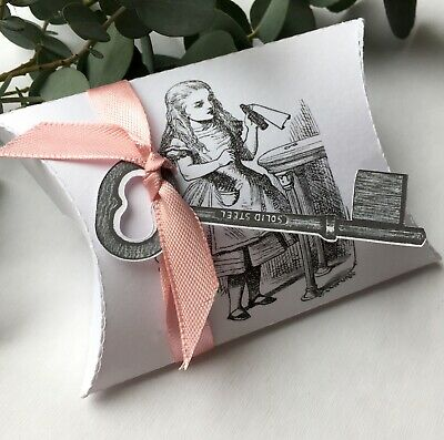 8  X Alice In Wonderland Pillow Boxes With Key Ribbon Party Favour Gift Box PB4 • 3.75£