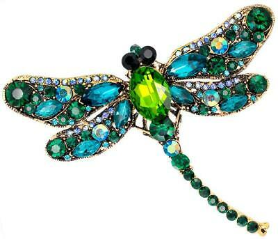 £4.99 • Buy Beautiful Green / Turquoise Crydtal Dragonfly Shaped Rhinestone Brooch / Pin