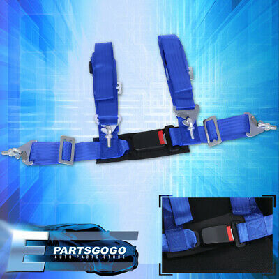$ CDN32.59 • Buy 4-Point 2  Blue Nylon Universal Strap Harness Safety Buckle Racing Seat Belt