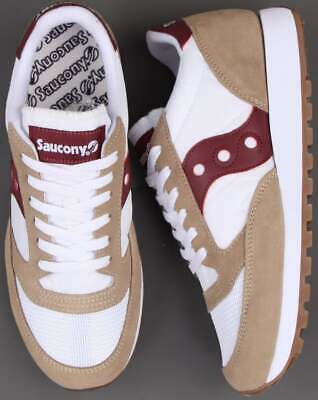 Saucony Jazz Vintage Trainer - Tan, White & Burgundy - BNIBWT • 75£