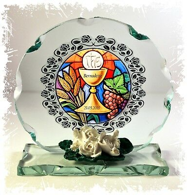 1st Holy Communion  Round Cut Glass Plaque Personalised Gift Idea Girl Or Boy • 27.45£