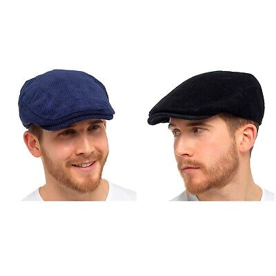 Corduroy Flat Cap Country Cord Traditional Peaked Newsboy Hat • 6.49£