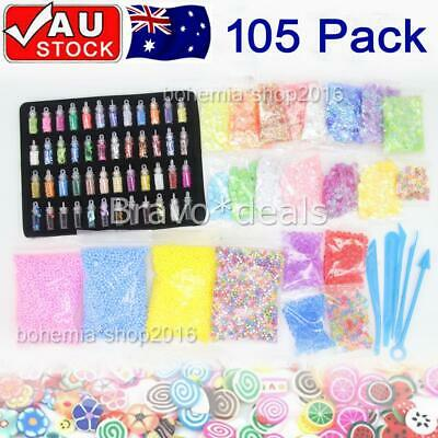 AU20.95 • Buy 105 Pack DIY Slime Making Supplies Tool Kit Beads Charms Kids Craft Toy AU