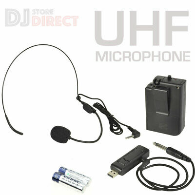 USB Powered Wireless UHF Neckband Headset Karaoke Singing Microphone Set  • 19.99£