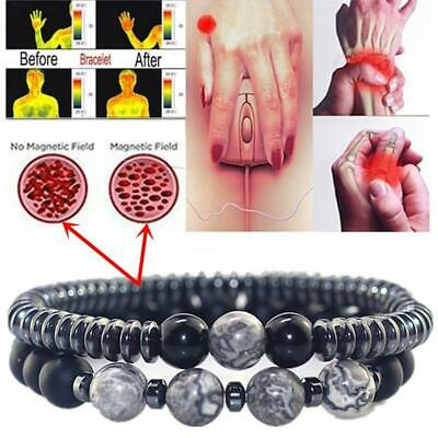 $6.99 • Buy Women Men Magnetic Bracelet Beads Hematite Stone Therapy Health Care Weight Loss