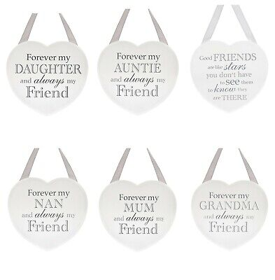 White And Grey Hanging Heart Sentiment Plaque Mum Gran Daughter Auntie Nan Gift • 5£